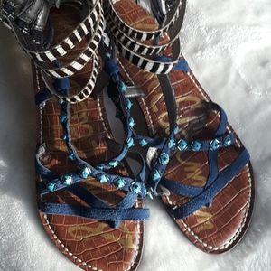 *Sam Edelman Ankle Strap Adjustable Sandals* Zebra
